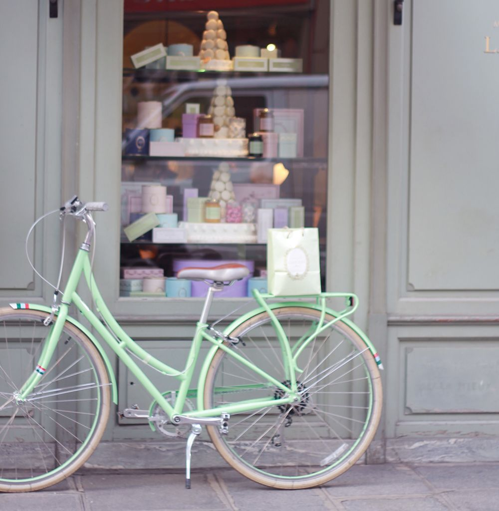 Peppermint Patty, the mint PUBLIC bike, in front of Laduree in Paris, France.  More of my favourite things.  Bicycles, Paris, treats.  All good.