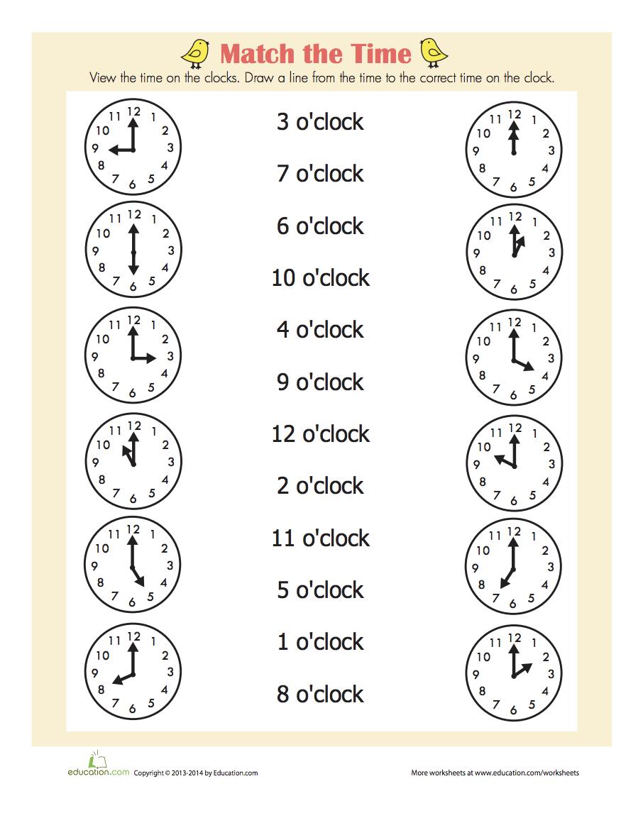 On the Hour | First grade worksheets, 1st grade worksheets ...