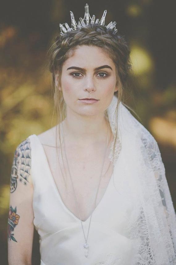 The STELLA Crown - Crystal Raw Quartz Crown Tiara - Magical Ethereal Unique Bridal Headpiece, Hair Accessory #bridalheadpieces