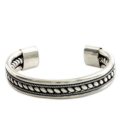 Sterling silver cuff bracelet, 'Strength of Celuk' - Modern Sterling Silver Cuff Bracelet Handcrafted in Bali (image 2a)