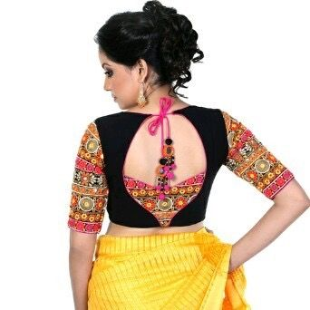 Black Colourful Design Trendy Blouse Designs Fashion Blouse