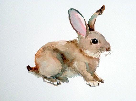 Bunnny rabbit original watercolor painting 9 X by OriginalArtOnly, $24.00