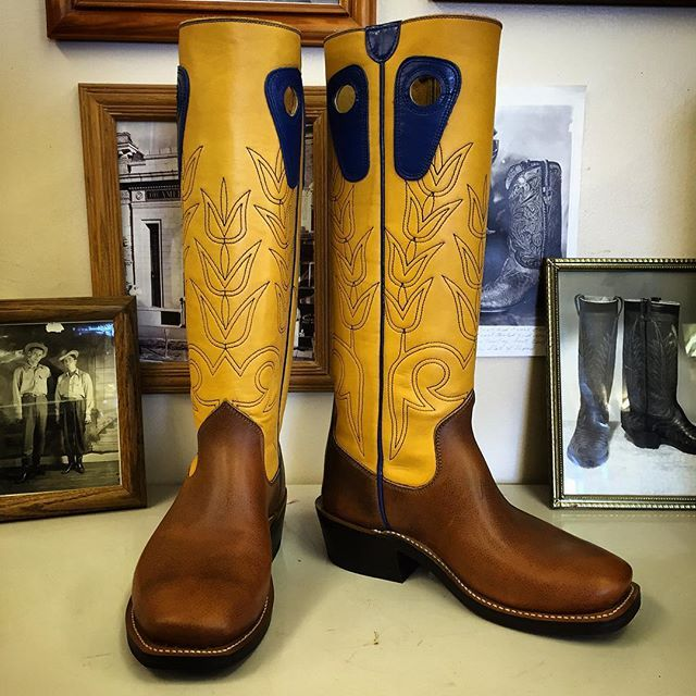 Custom Cowboy boot. Gold uppers with Royal Blue accents and Football vamps. #beckcowboyboots #beckboots #customboots #boots #cowboyboots #handmadecowboyboots #madeintexas