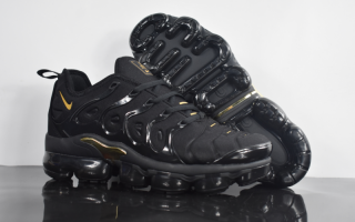73d79f3d333 Elegant Shape Nike Air VaporMax Plus TN Triple Black Gold Sneakers Men s  Running Shoes