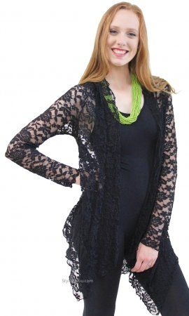 Harmony Vintage Lace Open Cardigan In Black | Women's Lace ...