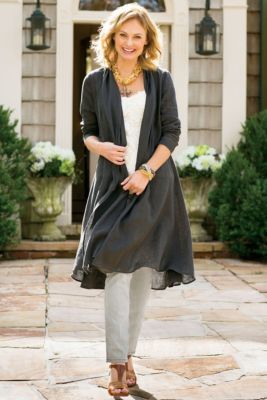 Gossamer Linen Shirt - Long Sweater Jacket, Drape Cardigan Sweater | Soft Surroundings