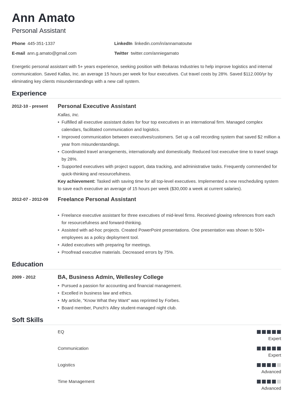 personal assistant resume example template nanica in 2020