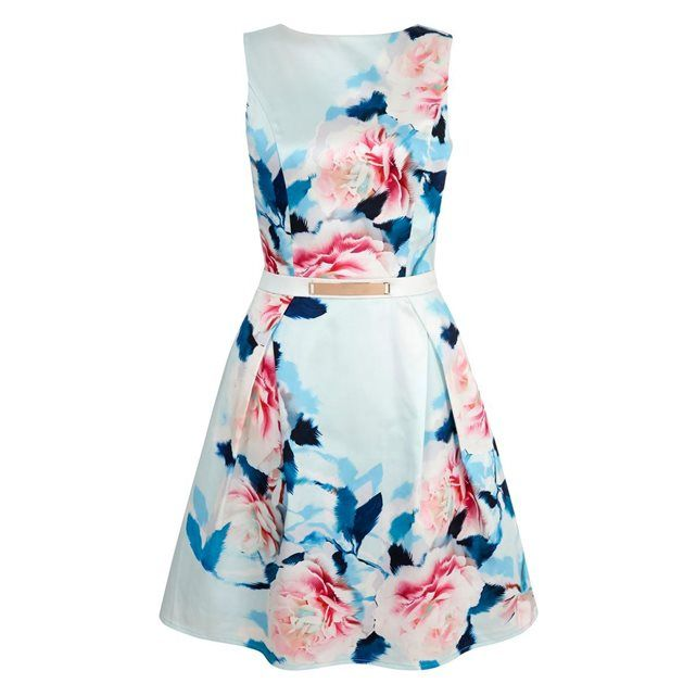 Womens Rose Satin Floral Sleeveless Dress Yumi kXbUPZL
