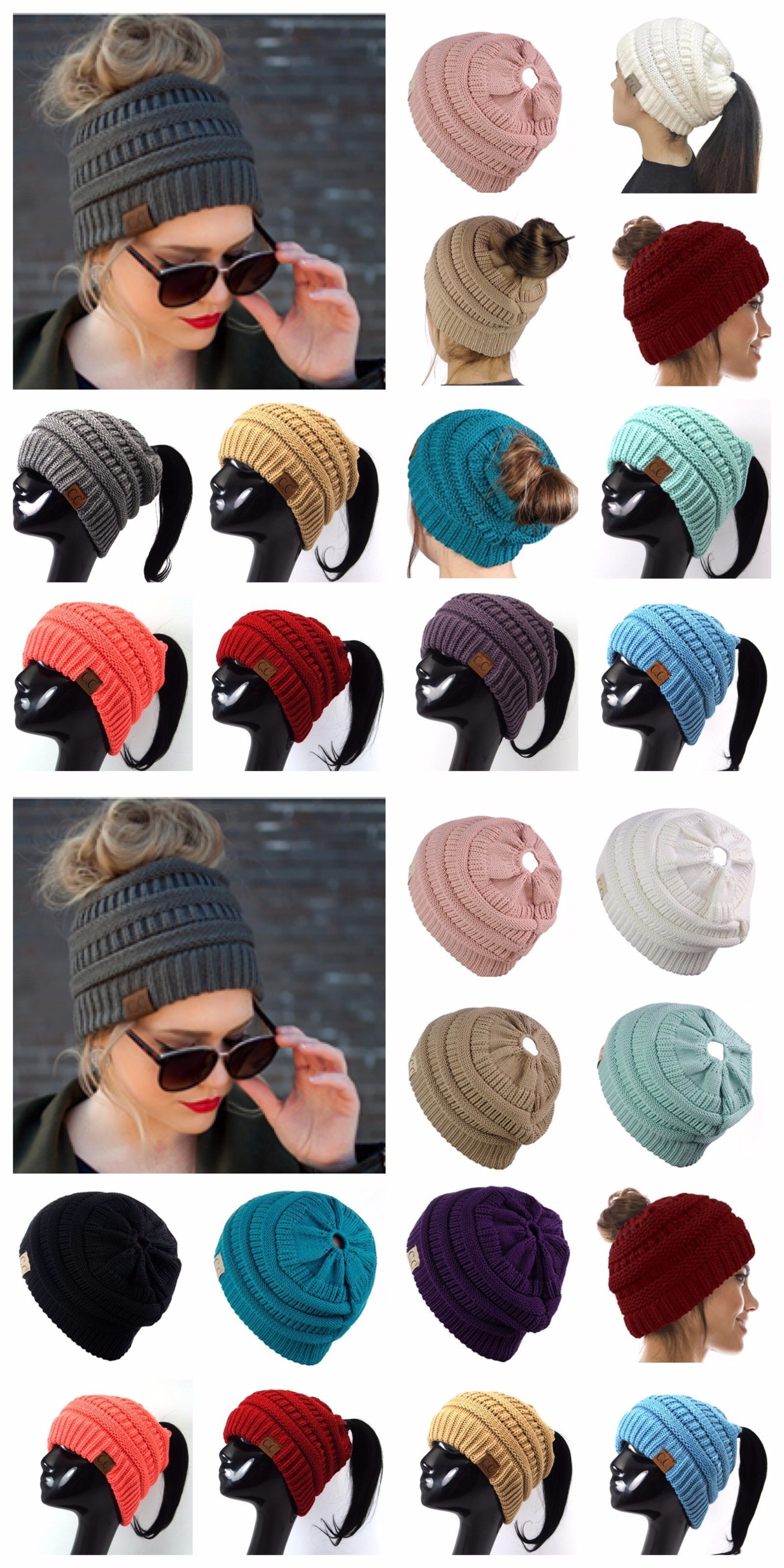 d1dbbf0080c Hats 45230  Women Cc Beanie Ponytail Hat Bubble Knit Fashion Winter Slouch  Hats Oversize -  BUY IT NOW ONLY   13.97 on  eBay  women  beanie  ponytail  ...