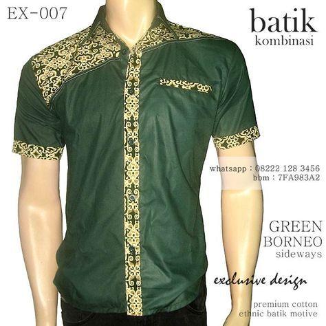 Kemeja batik pria KOMBINASI warna dominan HIJAU. Baju batik modern  berkualitas tinggi 288012501e