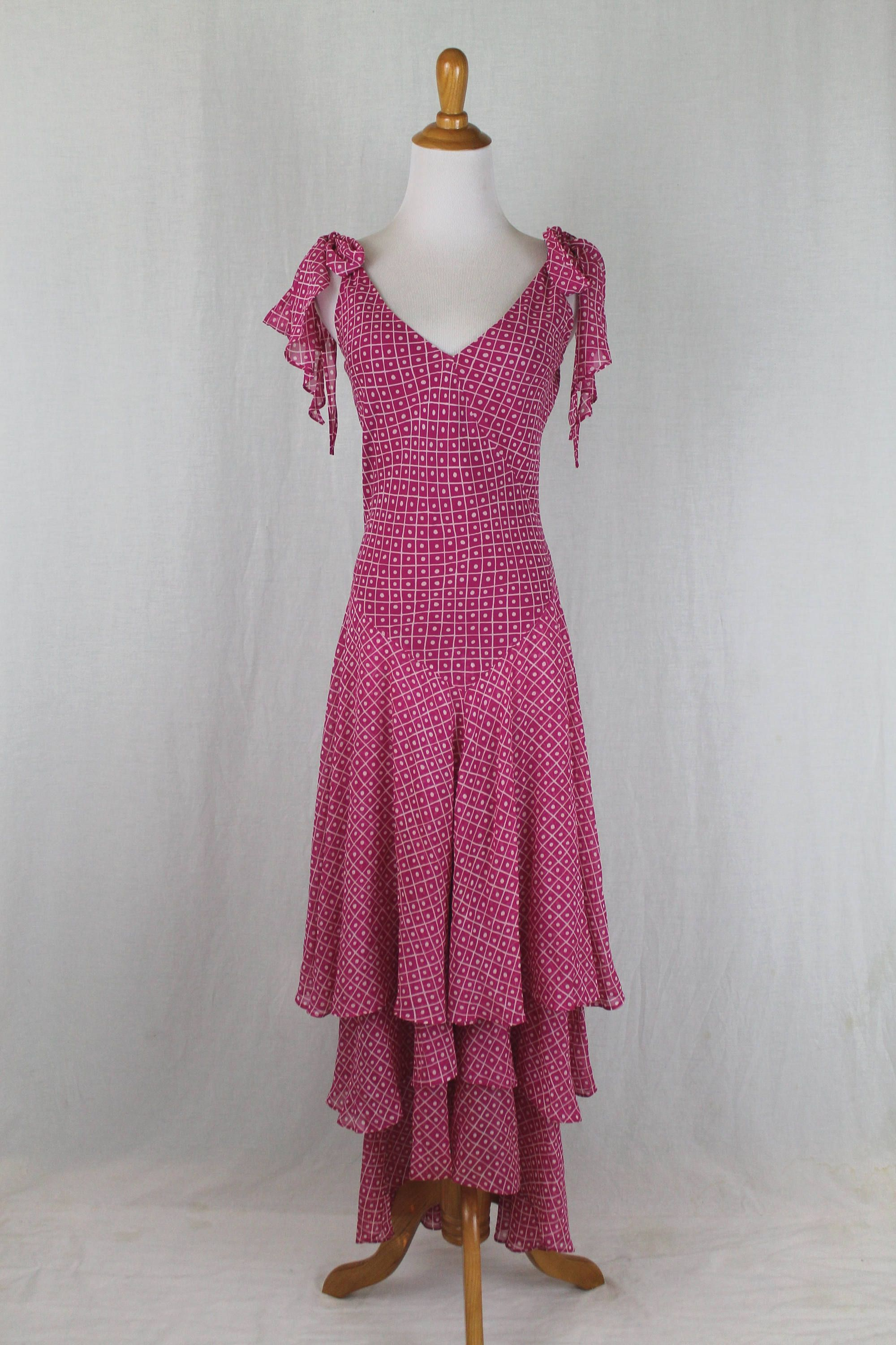 25a771bb81 Vintage Celia Birtwell for Express Iconic Long Flowing Rose Pink Silk Maxi  Dress Gown USA Size 4 UK 6 EU 34 France 36 Japan 7 36 by GlamArchive2017 on  Etsy