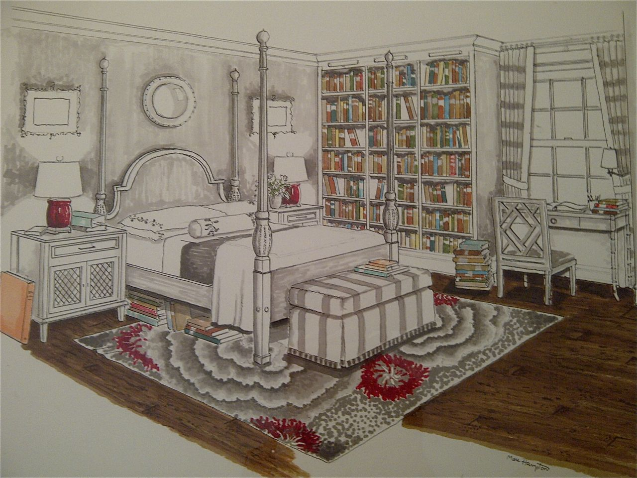 Bedroom drawing with color - Bedroom Interior Design Marker Rendering