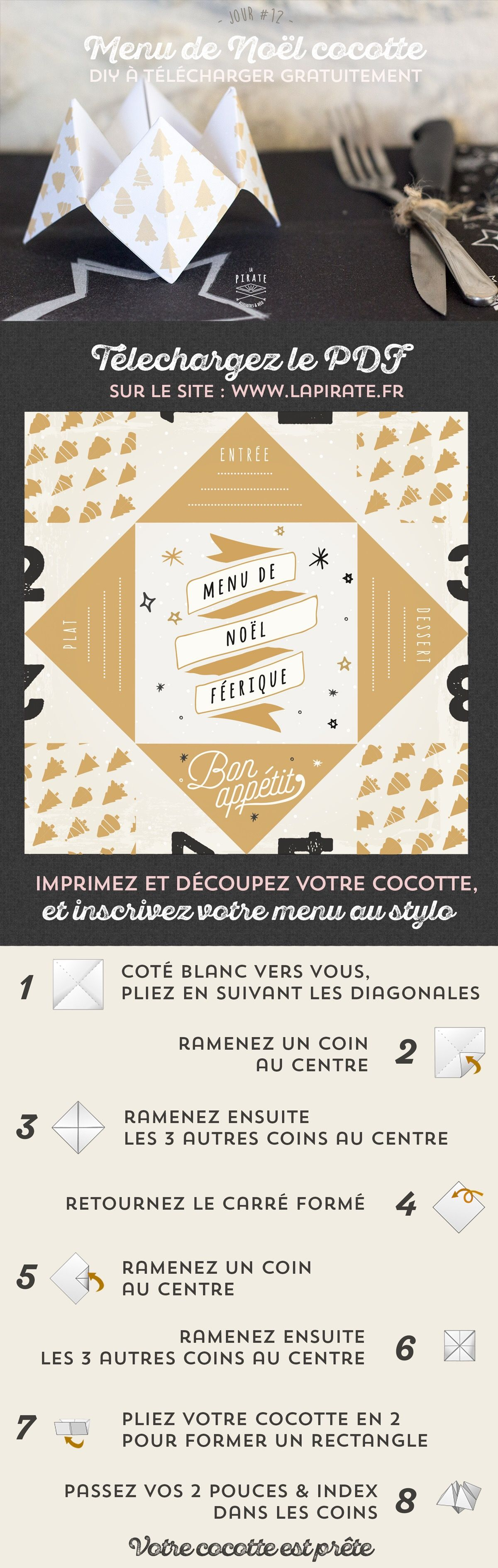 jour 12 diy de no l menu de no l cocotte en papier menu de noel original origami cocotte. Black Bedroom Furniture Sets. Home Design Ideas