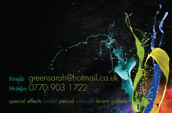 Colorful Double Side Artistic Business Card Designs For Makeup Artist Sarah Green From Engand