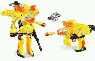 New Ninjabots transformer soft bullet gun toy foam dart blaster kids nerf  gun