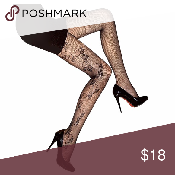 226398770f4 Plus Size Floral Vine Fishnet Pantyhose Tights • Color   Black • Size    5 1