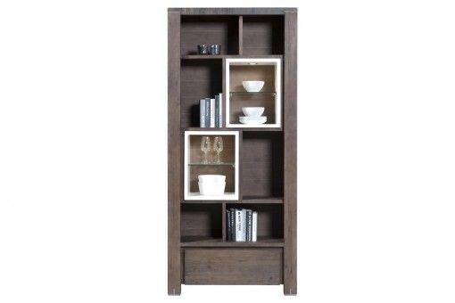 Boekenkast cataluna de houten boekenkast met led verlichting 1