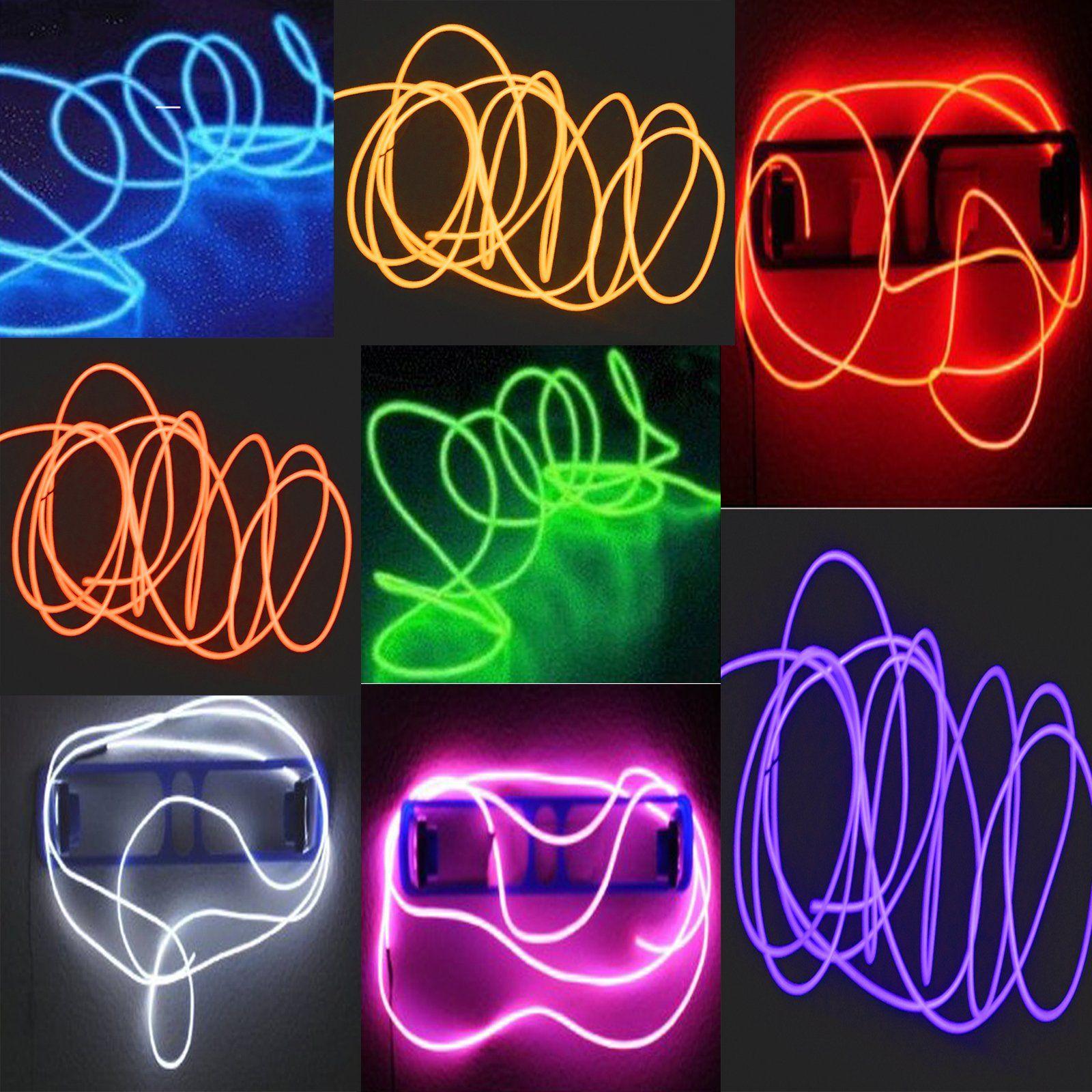 8 Pack  Tdltek Neon Glowing Strobing Electroluminescent Wire El