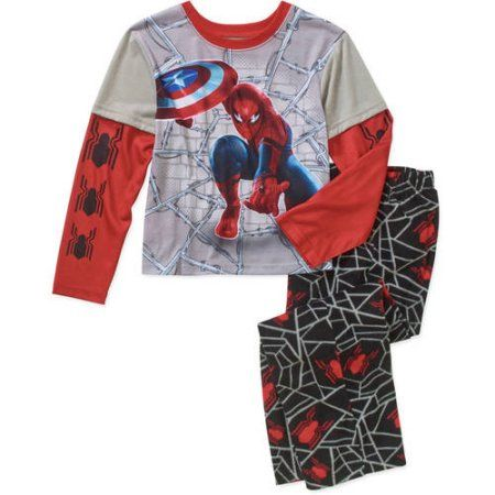 Marvel Boys Spiderman and Avengers 2 Piece Fleece Pant Set