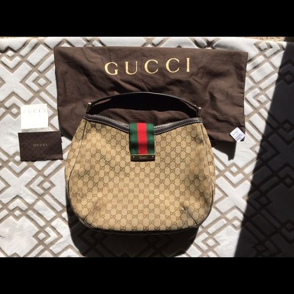 0b3c102441b3 Spotted while shopping on Poshmark: Authentic Gucci hobo tote shoulder bag!  #poshmark #fashion #shopping #style #Gucci #Handbags