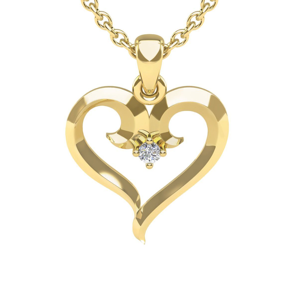 Yellow gold swirly heart with single fiery point diamond on