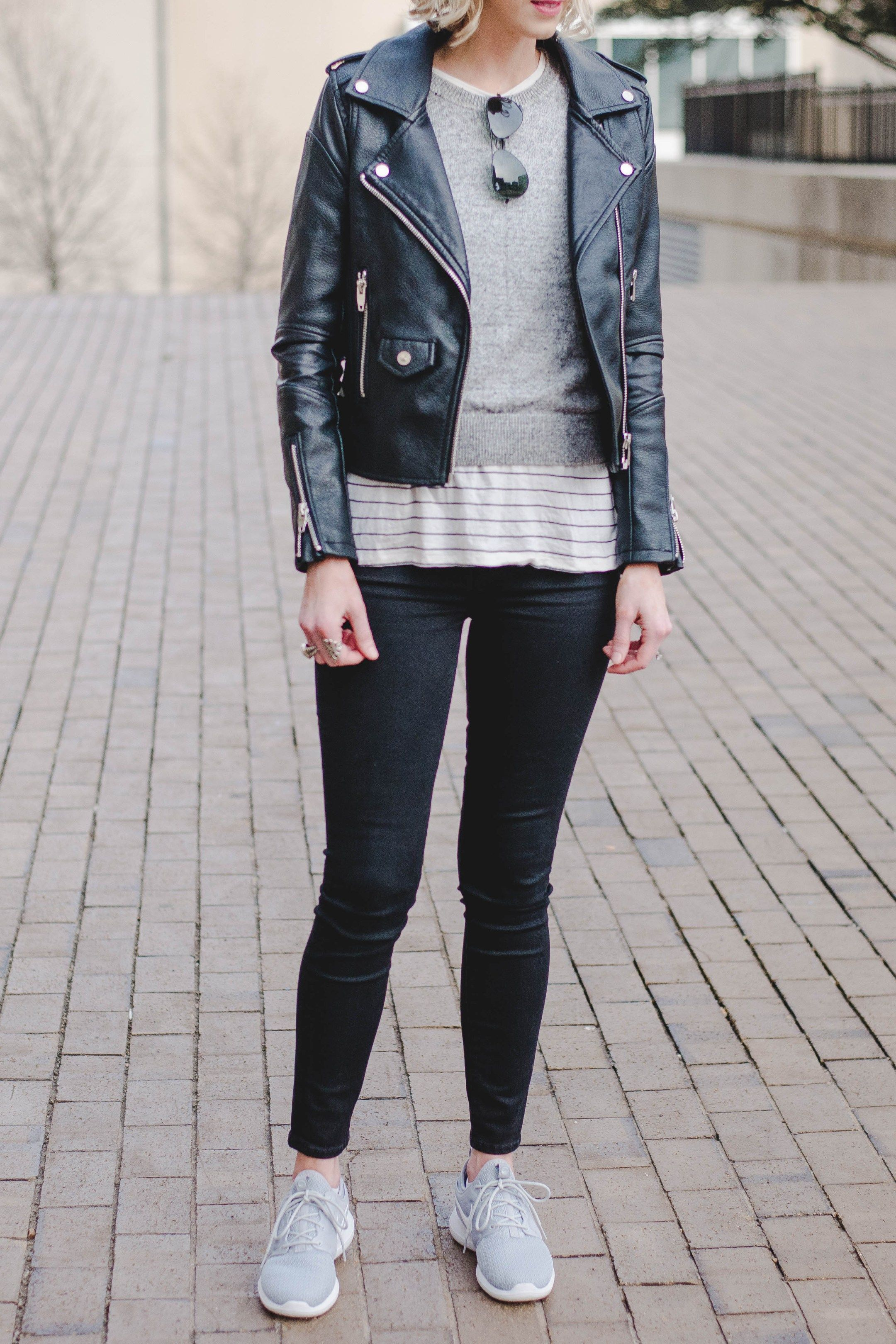 How to Wear a Leather Jacket in 2020 | Jacket outfit women