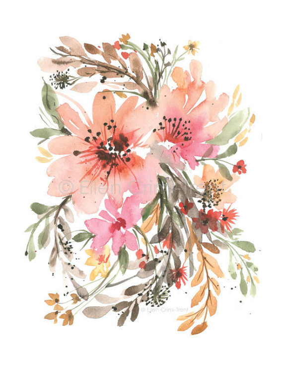 Watercolor Floral Boho Chic Wall Decor Watercolor Decor