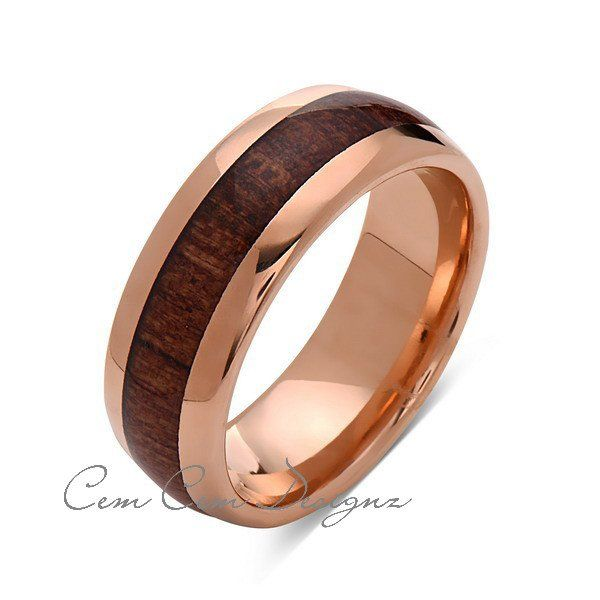 Koa Wood Wedding Ring Rose Gold Tungsten Band Hawaiian Koa Wood