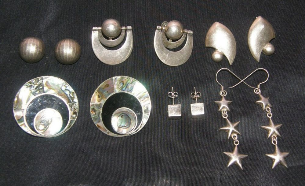 lot 6 sterling earrings set signed abalone mexico deco  90$