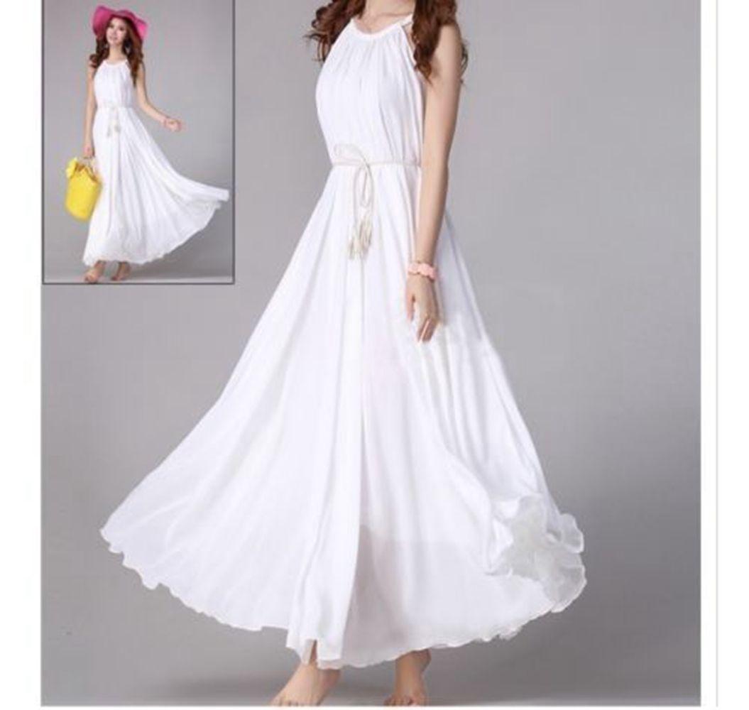 Plus size summer wedding dresses  Plus Size MXl Women Chiffon Summer Boho Evening Party Beach Long