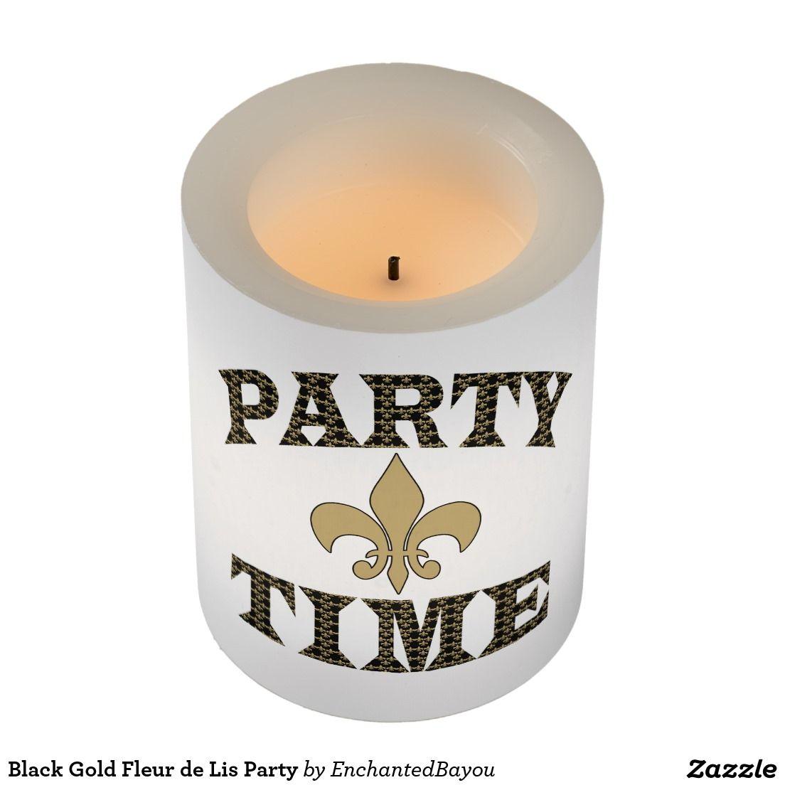 Black Gold Fleur de Lis Party Flameless Candle