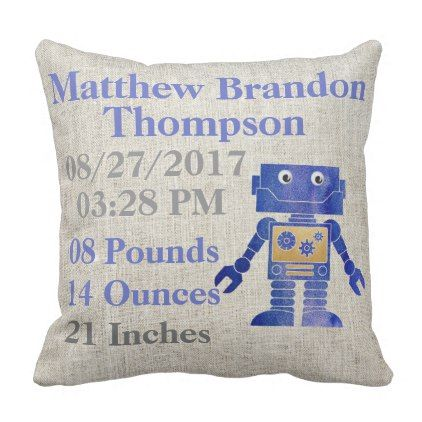 Baby Boy Blue Robotics Robot Ai Birth Announcement Throw Pillow