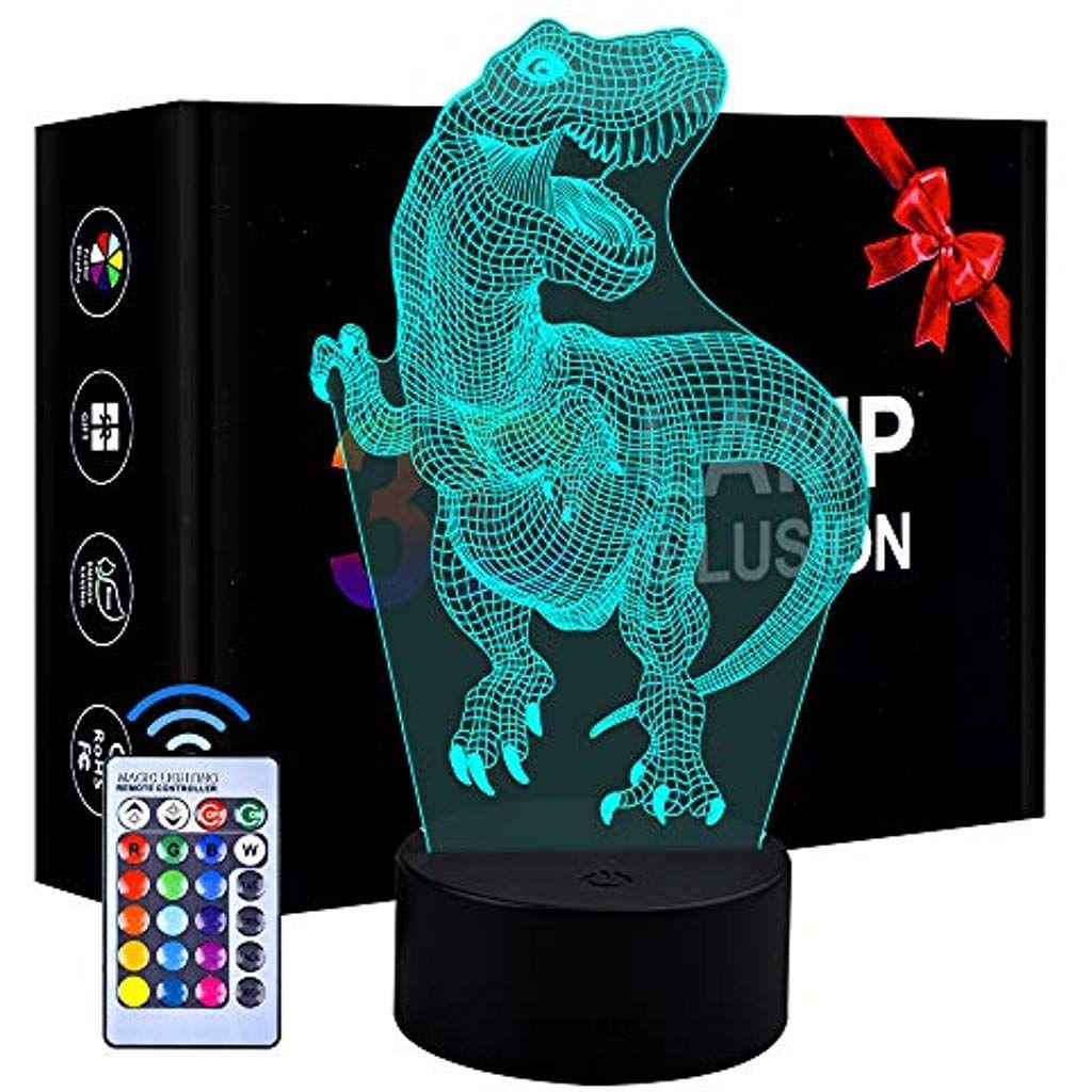 Eala 3d Led Dinosaurier Nachtlicht 3 Muster Und 7 Farbwechsel Dekor Lampe Mit Fernbedienung Fur Kinder Madchen Jungen Beleuchtung In 2020 Nachtlicht Farbwechsel Led