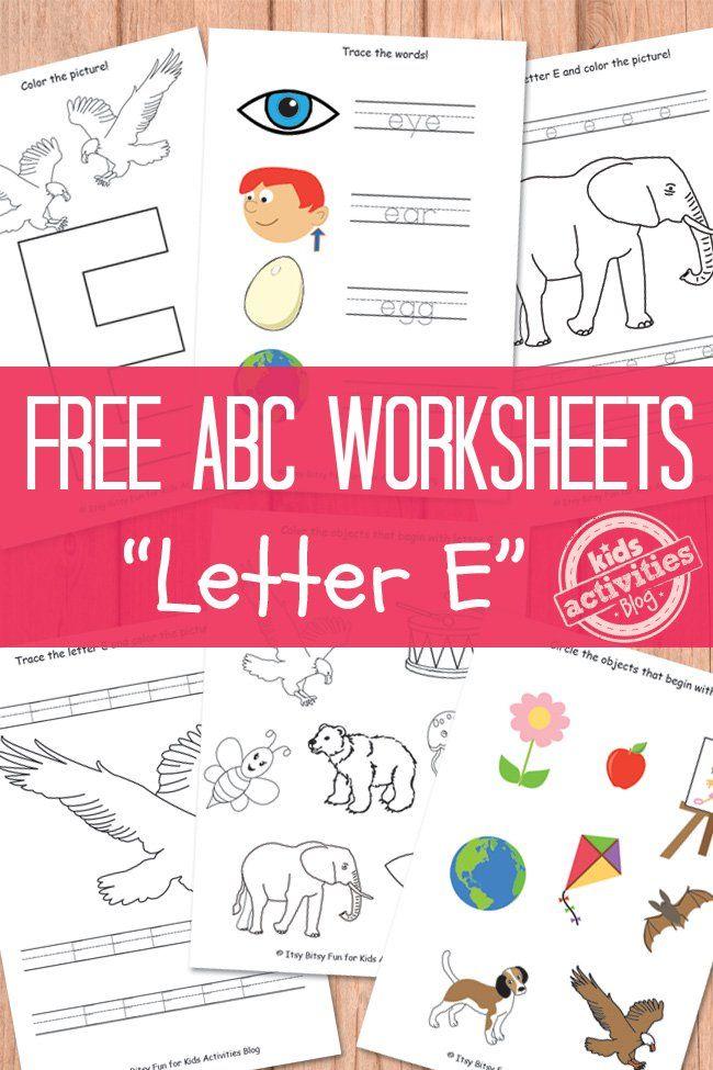 Letter E Worksheets Free Kids Printable