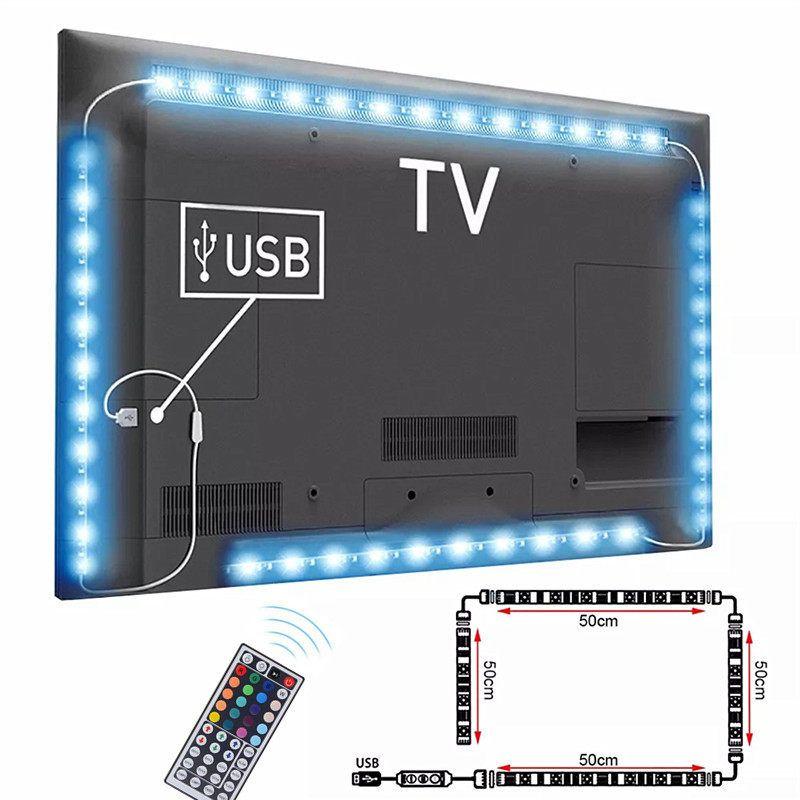 DC5V Cable USB tira de luz LED SMD 5050 TV fondo de