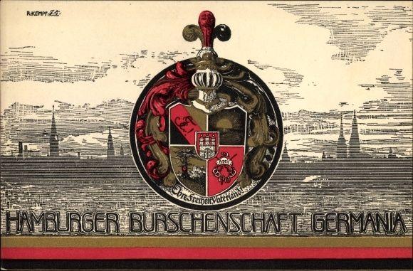 Studentika Ansichtskarte / Postkarte Hamburg, Wappen der Burschenschaft Germania, Stadtsilhouette
