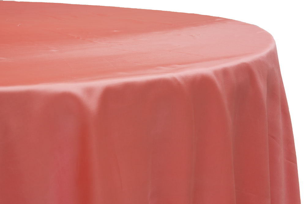 Satin 120 Round Tablecloth Coral Round Tablecloth Party