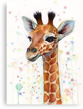 'Baby Giraffe Watercolor Painting, Nursery Art' Canvas Print by Olga Shvartsur