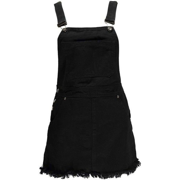 Boohoo Betty Black Denim Dungaree Skirt (€32) ❤ liked on Polyvore featuring dresses and denim dungaree