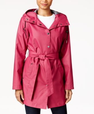 Laundry By Design Hooded Water Resistant Belted Raincoat Macys Com Raincoat Raincoat Jacket Stylish Raincoats
