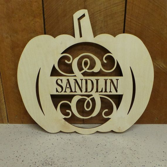 Unpainted Pumpkin Door Hanger - Personalized Pumpkin Wreath - Wooden Pumpkin Door Hanger - Fall Decor - Fall Door Hanger - Monogram Wreath