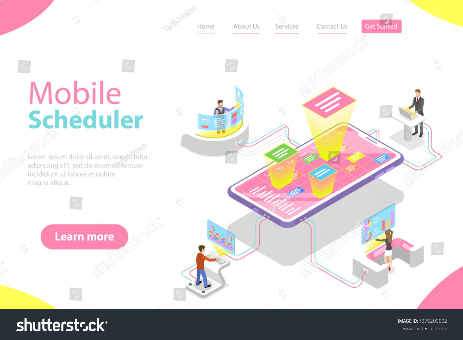 Flat Isometric Vector Landing Page Template Of Mobile Scheduler