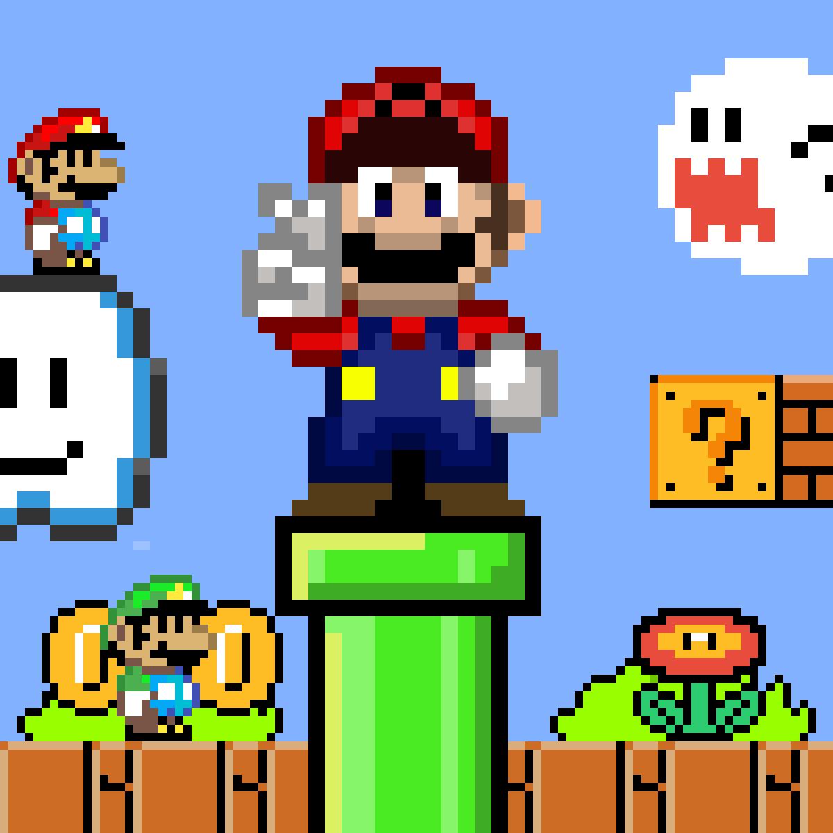 The World Of 8 16 Bit Mario Bros Is Just Madness Mario Mario Bros Pixel Art