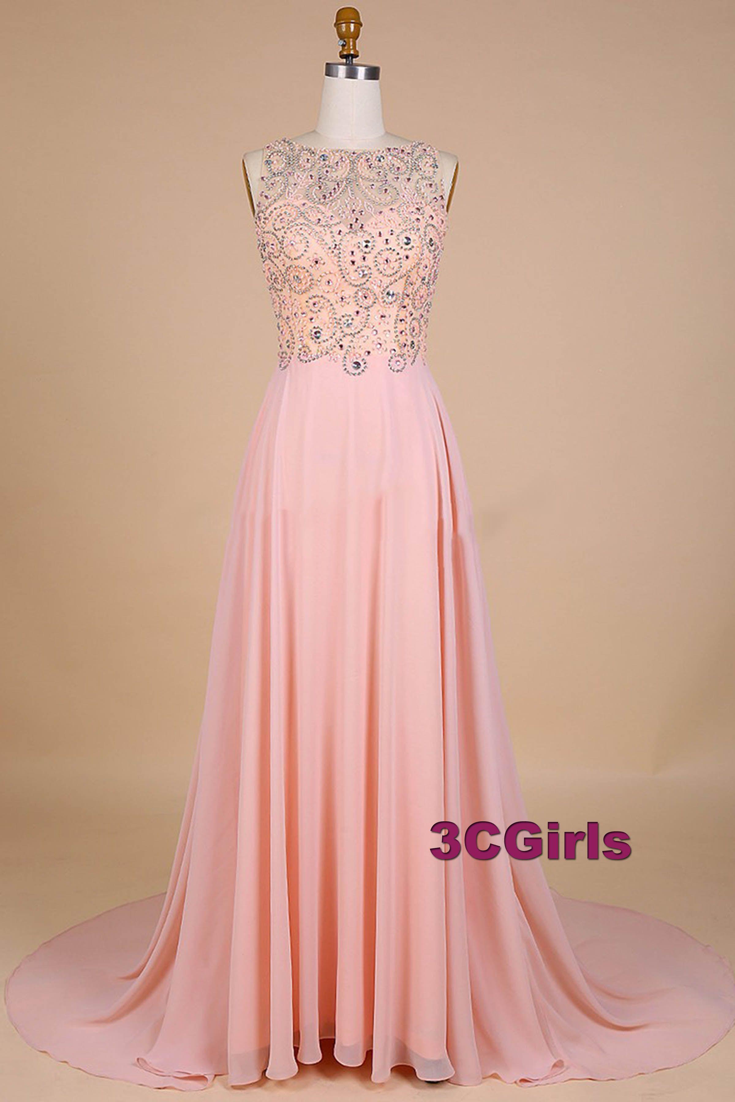 1e13d159be0 Pink chiffon sequins prom dress