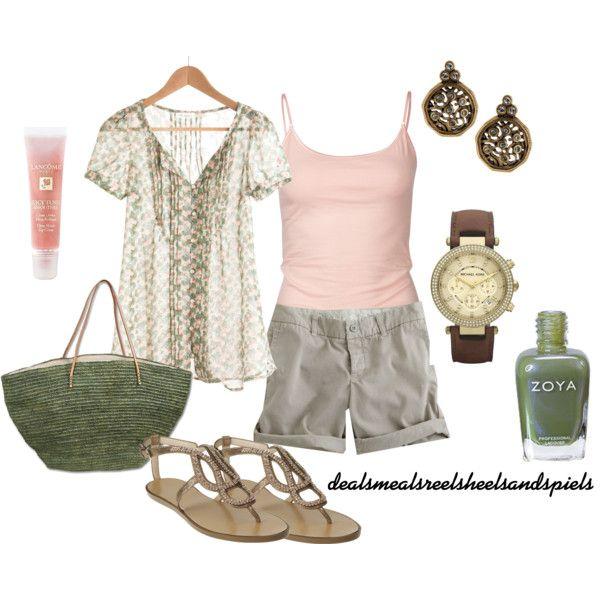 light pink & sage green, created by dealsmealsreelsheelsandspiels on Polyvore
