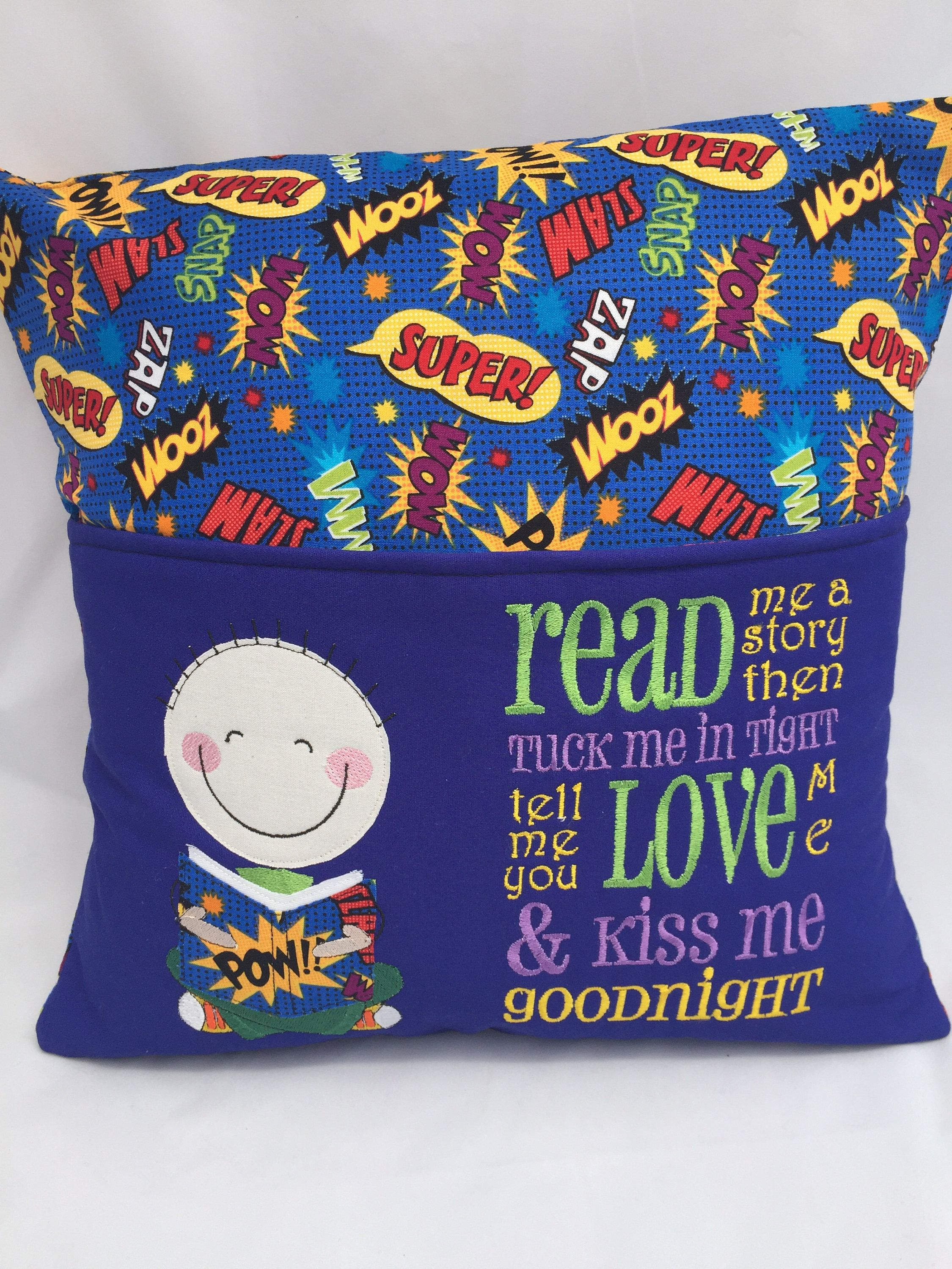 Pillow Book Ideas: Pillow  Reading pillow  Book pocket  Boys reading pocket pillow    ,