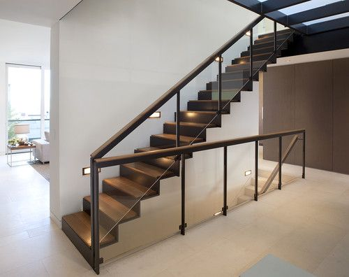 STAIRS- Love mix of metal and wood tread with black metal railing ...