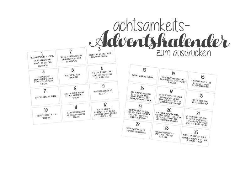 Achtsamkeits Adventskalender Schon Gespeichert Adventkalender Adventskalender Zum Ausdrucken Adventskalender