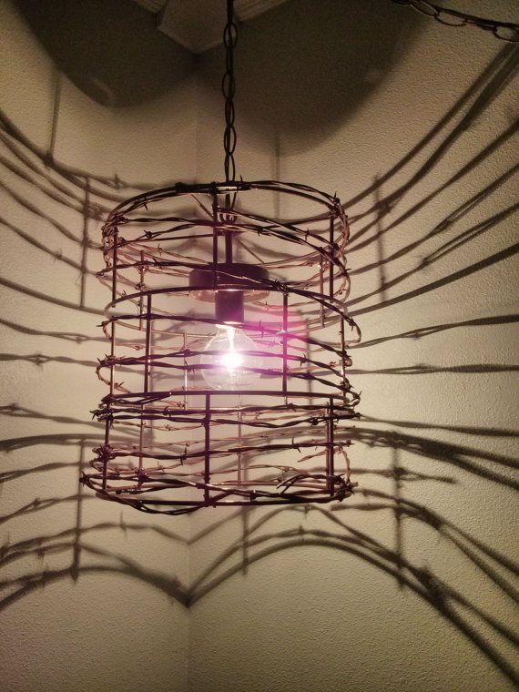 These Are One Of A Kind Lights Made From Rusty Colorado Ranch Barbed Wire Each Is Unique And To Order Great For Cabin Or