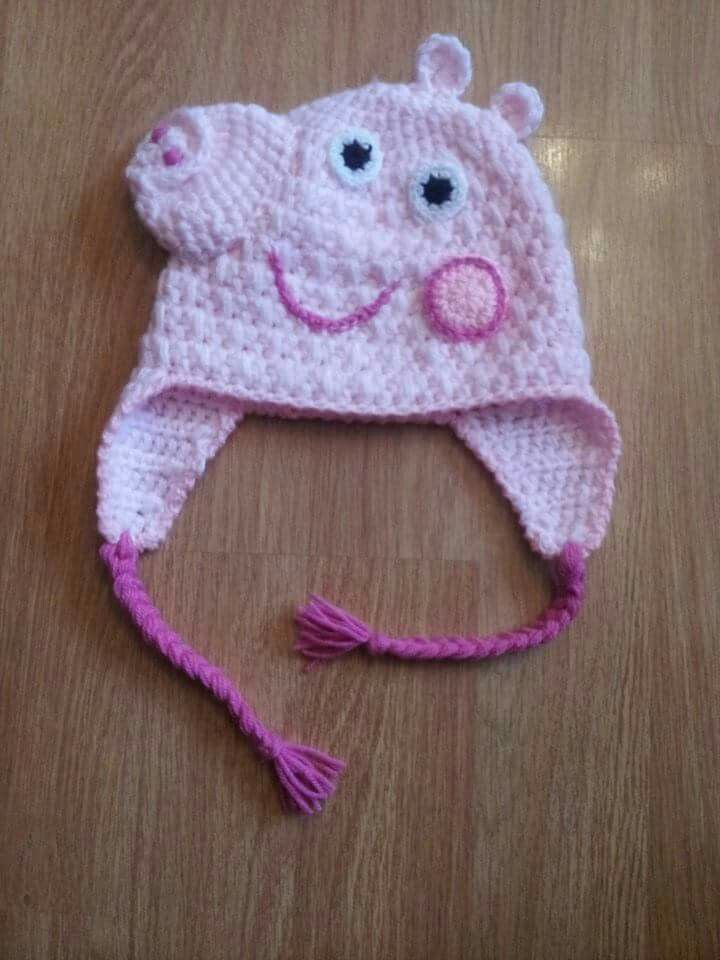 Peppa pig crochet hat - no pattern just 1 picture, a small dose of ...
